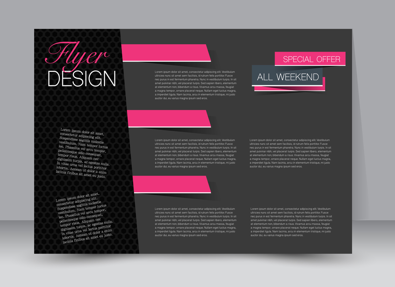 Flyer, brochure, billboard template design landscape orientation for education, presentation, website. Pink and black color. Editable vector illustration.