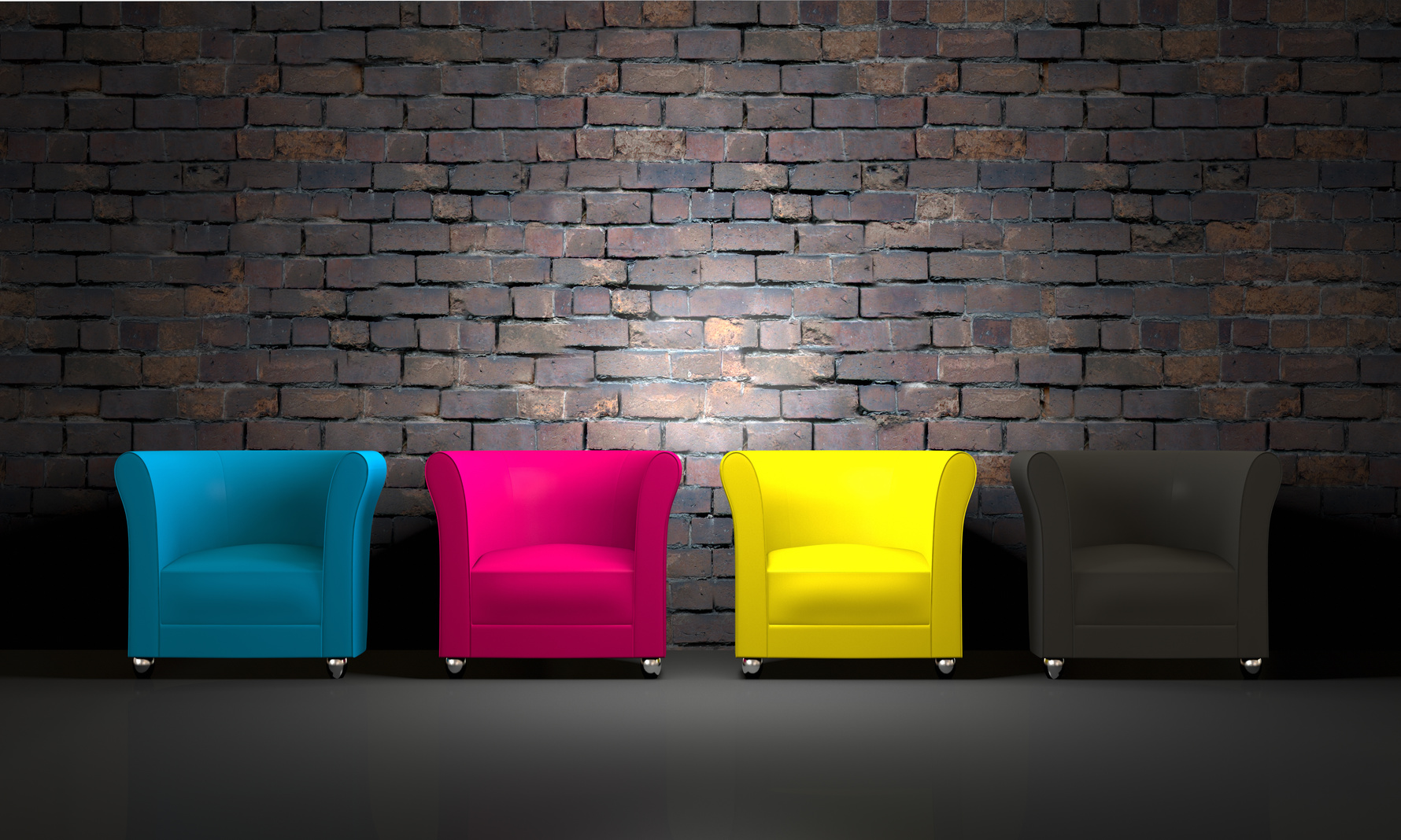 3D CMYK chairs and brick wall